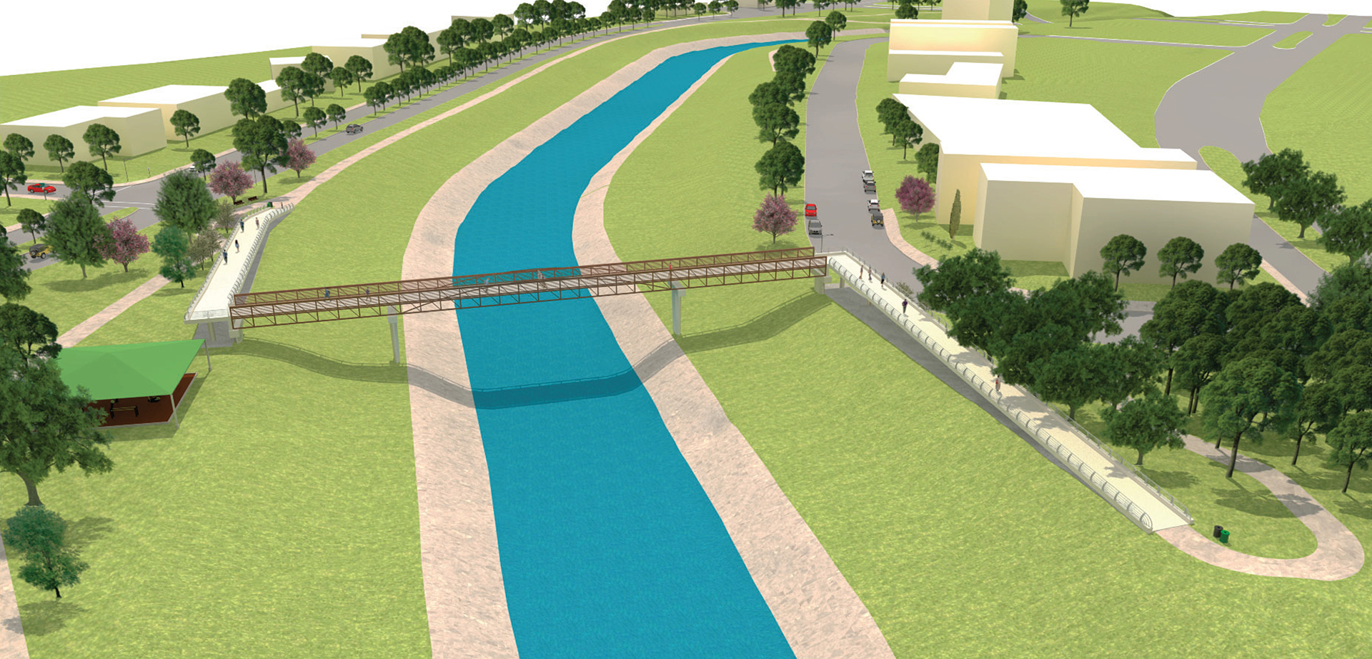 Brays Bayou Pedestrian Bridge - Costello Engineering Project for structural+engineering, land+planning, landscape+architecture, land+planning+and+landscape+architecture,