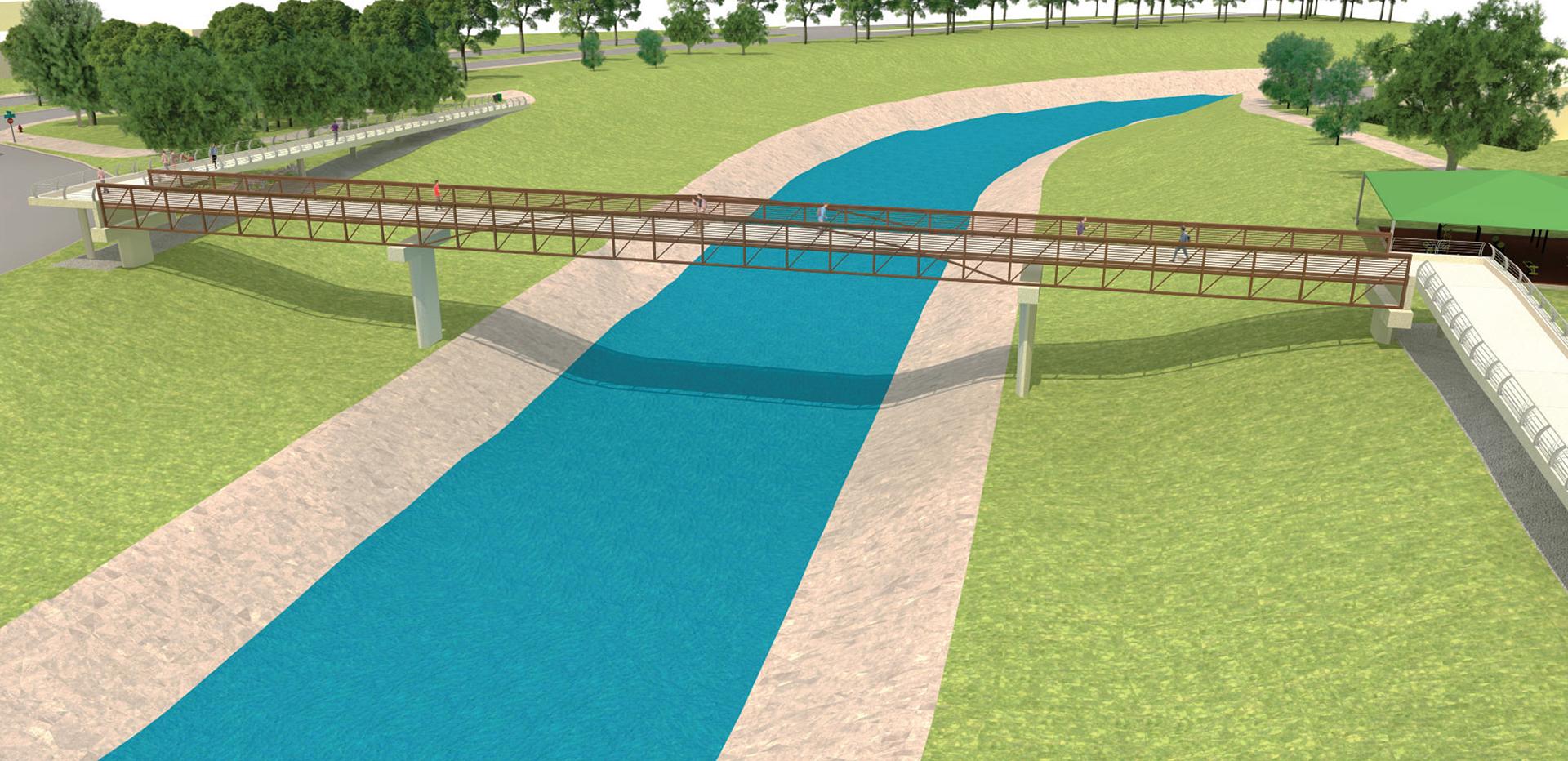 Brays Bayou Pedestrian Bridge-Harris County, Texas