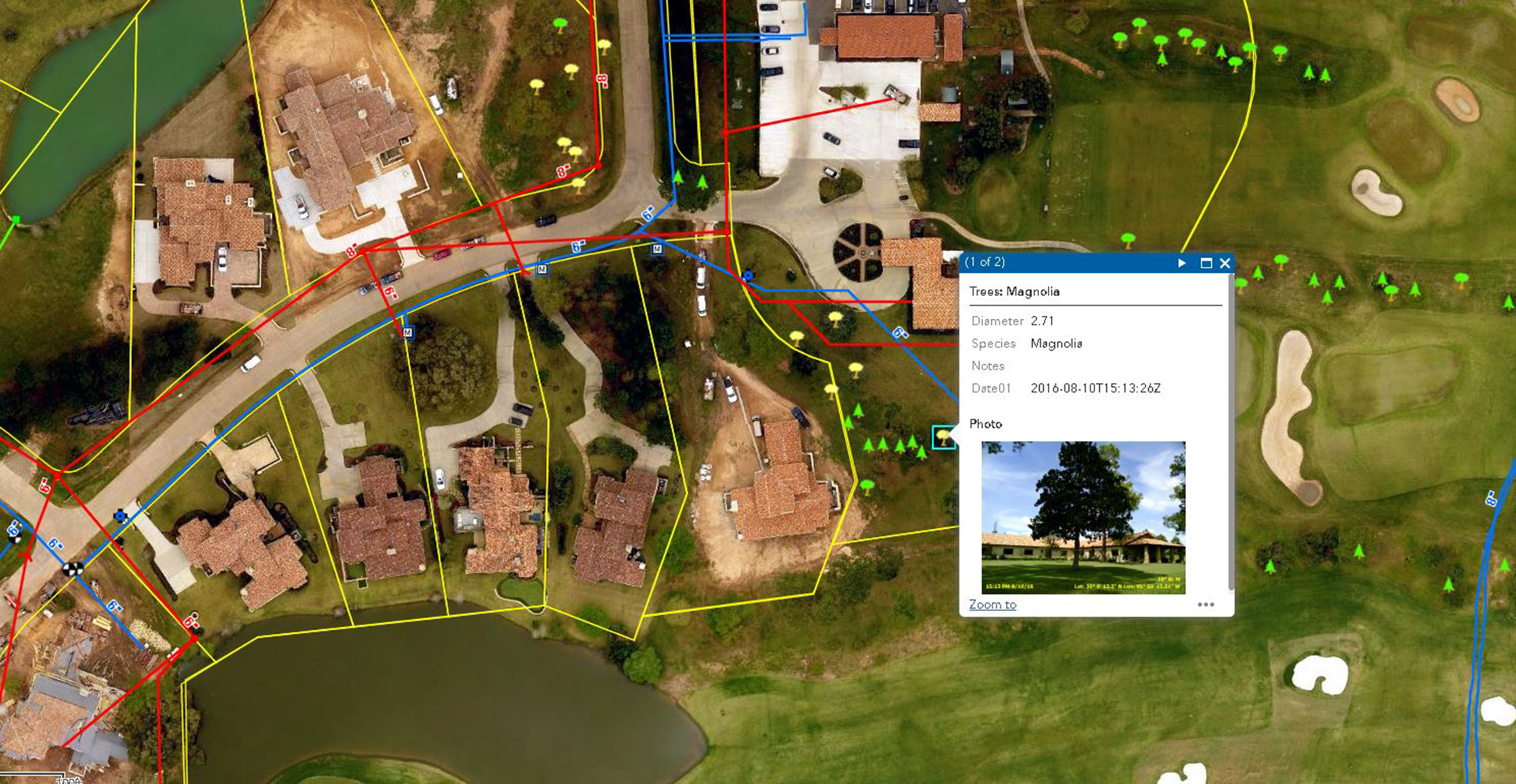 GIS Mapping for The Clubs at Houston Oaks - Costello Engineering Project for gis,